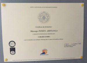 diplôme massage indien sandra massage