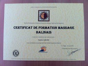 diplôme massage balinais sandra massage
